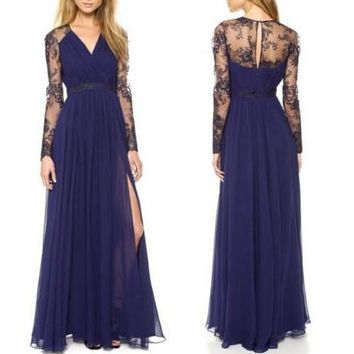 Sexy Lace Long Chiffon Evening Formal Party Cocktail Dress Bridesmaid Prom Gown [7955185351]