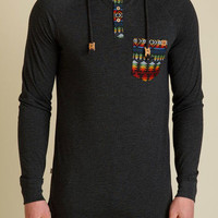 tentree Rockglen Long Sleeve Henley for Men in Black SU16-MHROC-BLK