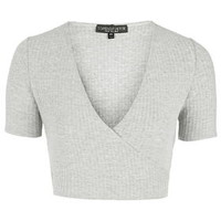 Petite Ballet Wrap Crop Top - Grey Marl