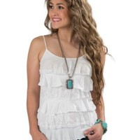 Panhandle Slim® Women's White Knit & Lace Tiered Ruffle Spaghetti Strap Tank