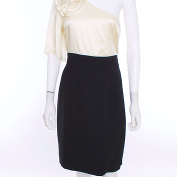 Trina Turk NWT Two Tone Black and Ivory Embellished Silk Dress Size 10