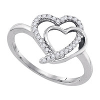 Diamond Fashion Ring in White Gold-plated silver 0.15 ctw