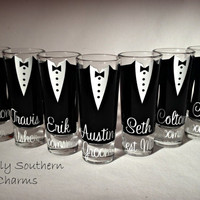 7 Wedding Glasses, Personalized Groom and Groomsman Shot Glasses, Best Man Gift