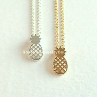 Dainty Pineapple Necklace - Gold, Rose Gold & Silver
