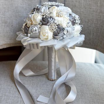 Newest grey + cream  Wedding Bouquet Rose Bride Bouquet Artificial Flowers Bouquets Diamond Crystal Marriage