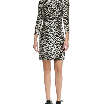3/4-Sleeve Fitted Leopard