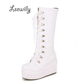 New Gothic punk shoes cosplay boots knee high heel platform sexy zip winter wedges knee high boots P917