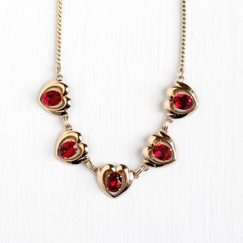 Vintage 12k Yellow Gold Filled Red Rhinestone Heart Necklace - Retro 1950s Valentine's Day Simulated Ruby Romantic Jewelry Signed Van Dell