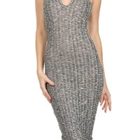 Sexy Ribbed Sheer Knit Stretch Bodycon Midi Cocktail Dress