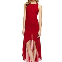 YA LOS ANGELES Red Sleeveless Maxi Dress with Waist Tier Detail