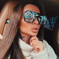 Fendi Tide brand men and women personality frameless letter printing lens fashion sunglasses