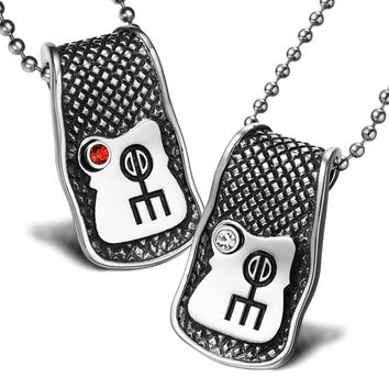 Unique Rune Norse Love Powers Couples or Best Friends Magic Amulets Set Red White Crystals Necklaces