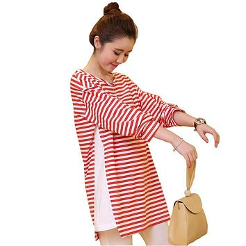 Women T Shirt Tops Breastfeeding Full Sleeve sweater Pregnant Maternity Clothes Hot Women pullover dress 100% cotton Plus size