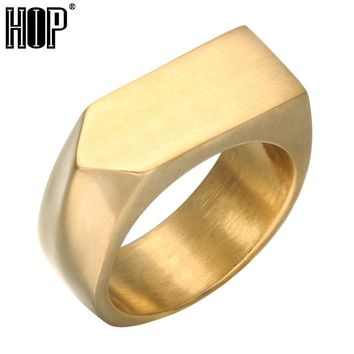 HIP Mens Gold Color Geometric Rings Titanium Stainless Steel Square Finger Signet Rings for Men Jewelry Male Ring