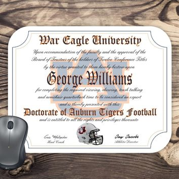 Personalized Auburn Tigers Ultimate football Fan Diploma Mouse Pad