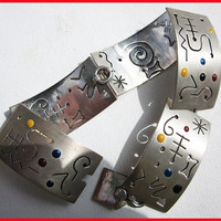 Post Modern Primary--Sterling Silver/Enamel Link Bracelet with Cutouts,signed Carol,Vintage Jewelry,Women