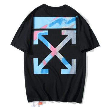 Off White New fashion gradient cross arrow print couple top t-shirt Black