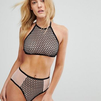 Bluebella Fern Halter Bra & High Waist Brief Set at asos.com
