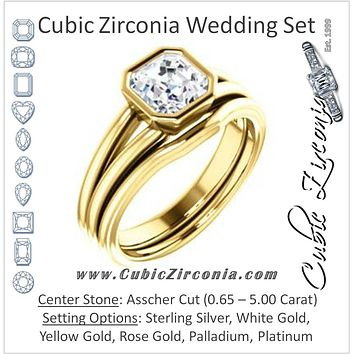 CZ Wedding Set, featuring The Bernadine engagement ring (Customizable Bezel-set Asscher Cut with V-Split Band)