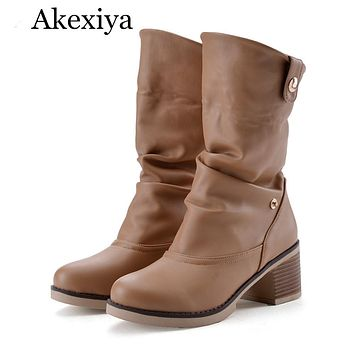 Akexiya Vintage Women Boots Western Shoes Chunky Mid Heels Round Toe Mid Calf Boots Ladies Shoes White Brown Large Size 42 43