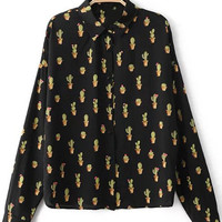 Multicolor Long Sleeve Buttons Front Cactus Print Blouse