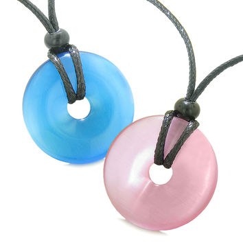 Large Lucky Charms Coin Donuts Positive Powers Best Friends Sky Blue and Pink Cats Eye Pendant Necklaces