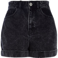 River Island Womens Black acid wash high waisted denim shorts