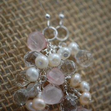 white & peach fresh water pearls, czech glass tear drops with rose quartz briolette earrings. wire wrapped, sterling silver. bridal jewelry.
