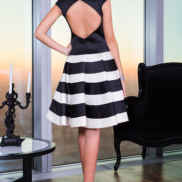 Striped Satin Cocktail Dress 99434 - Short Dresses | Cocktail Dresses