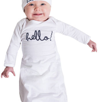 Harper ~Hello Baby Receiving Gown and Hat ~ White