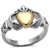 Irish Claddagh Rose Gold & Silver Stainless Steel Ring
