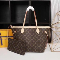 LV Louis Vuitton Women Men Leather Shoulder Bag Satchel Tote Handbag Shopping Leather Tote Crossbody Satchel Shoulder Bag