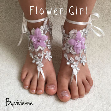 Flower girl barefoot sandals lilac  Beach wedding french lace footless sandal
