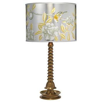 Jamie Young Company 1GHEE-TLAB-2HPDRUM-MDPL Ghee Antique Brass One-Light Title 24 Table Lamp with Medium Hand Painted Drum Shade