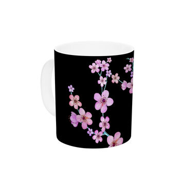 "Julia Grifol ""Cherry Blossom At Night"" Pink Black Ceramic Coffee Mug"