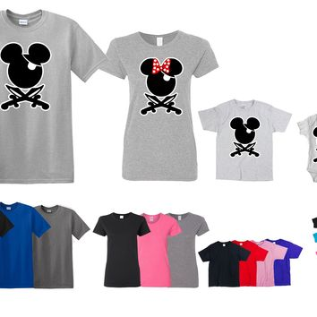Family Matching Pirate Mickey Minnie Kids Love Set Men Women Kids Onesuit T-shirt
