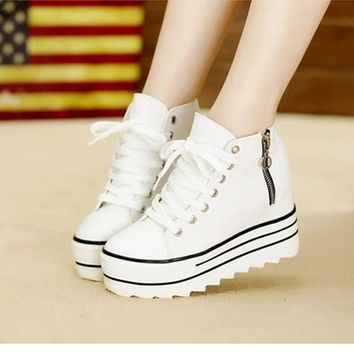 2015 Fashion Women's High Heeled Platform Sneakers Canvas Shoes Elevators White Black High Top Casual Woman with Zipper GZ Ocd2