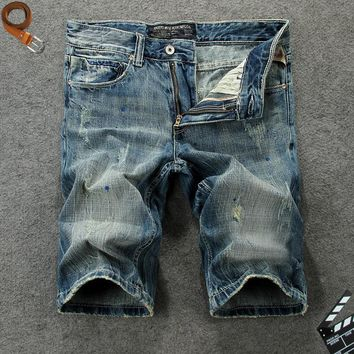 Summer Denim Weathered Cotton Pants Shorts [748306923613]