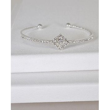 Crystal Decorated Rhombus Center Open End Cuff Bracelet