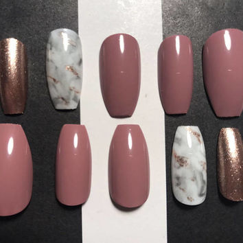 Glue Included | Mauve Marble Rose Gold Press On Nails | Press On Nails | Fake Nails |