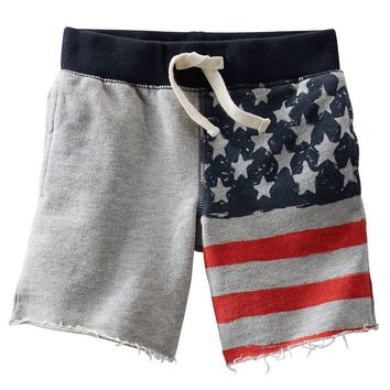 OshKosh B'gosh American Flag French Terry Shorts - Toddler Boy, Size:
