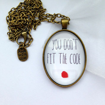 "Dexter Necklace - Handmade - With Blood Slide And Quote ""You Don't Fit The Code"""