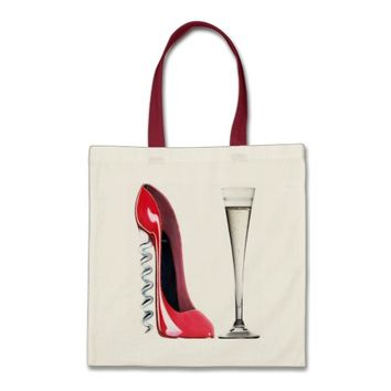Champagne Flute Glass and Corkscrew Stiletto Shoe