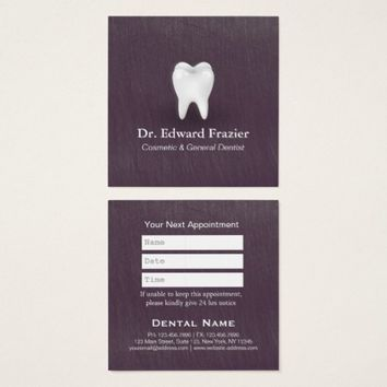 Modern Chic Purple Dental Care Dentist Appointment Square Business Card