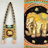 vintage EMBELLISHED ELEPHANT bohemian nomad gypsy FESTIVAL cross-body purse bag tote