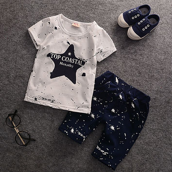 2016 Summer Baby Boys Clothes Kids Short Sleeve Clothing Set Star Toddler Boys short sleeved T-Shirts+Children Shorts