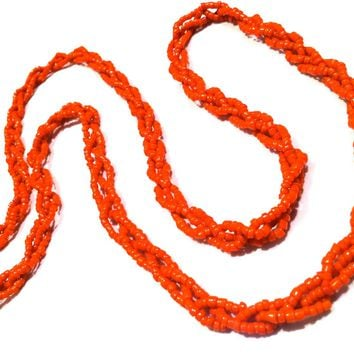 Orange Braided Seed Beads Necklace Vintage Jewelry handmade