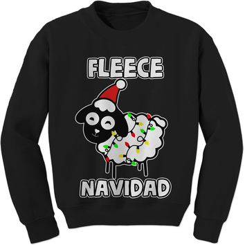 Sheep Fleece Navidad Ugly Christmas Adult Crewneck Sweatshirt