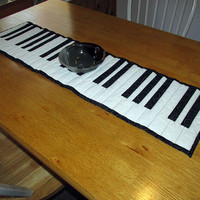 Handmade Quilted Table Runner, Piano Runner, Keyboard Table Topper