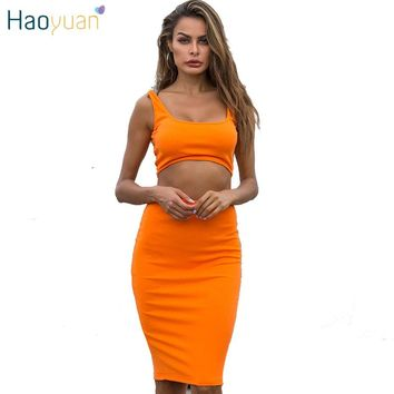 HAOYUAN Sexy 2 Piece Set Women Club Outfits Neon Crop Top and Skirt Suit Summer Rave Festival Clothing Two Piece Matching Set